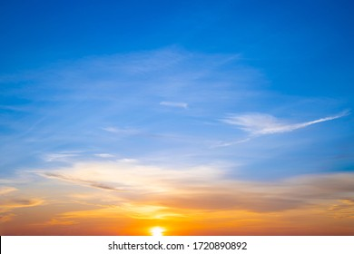 Beautiful sunrise on blue sky and cloud nature. Vast sky landscape panoramic scene - colorful sky view in bright tones, picturesque sky landscape - Shutterstock ID 1720890892