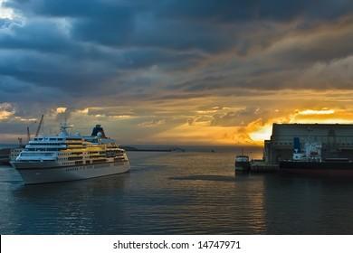 A beautiful sunrise on a cruise ship.