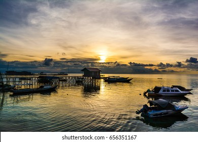 Beautiful sunrise on the Derawan beach, East Kalimantan, Indonesia