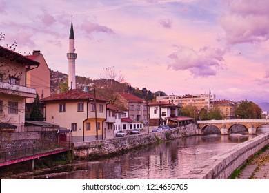 Beautiful sunrise on Miljacka river in the old historic center of Sarajevo, Bosnia and Herzegovina