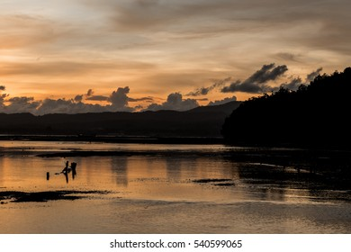 Beautiful sunrise on Nusa Lembongan Island, Bali, Indonesia, Asia. Dramatic scene.