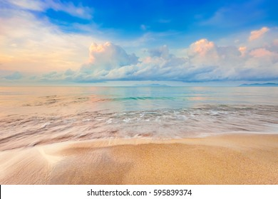 beautiful sunrise on the tropical beach with a little waves look like the paradise in summer relaxing holiday time