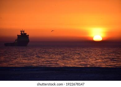 beautiful sunrise over the baltic sea in Gdynia poland