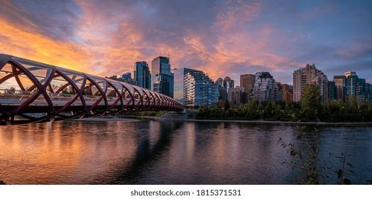 Beautiful sunrise over Calgary's urban skyline.
