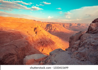 Beautiful sunrise over desert from Masada in early morning. Israel.