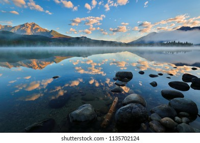 Beautiful sunrise over Edith Lake, Jasper National Park, Alberta, Canada