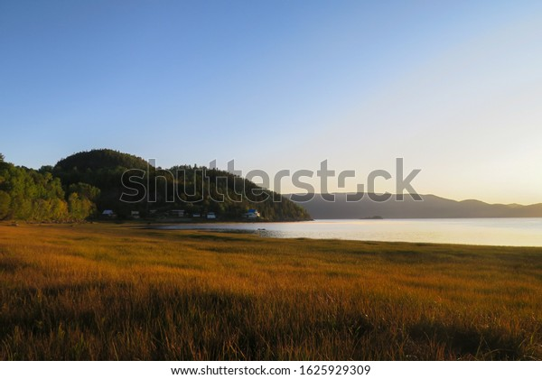 Beautiful sunrise over a golden field at L'Anse Saint-Jean in the Saguenay Fjord