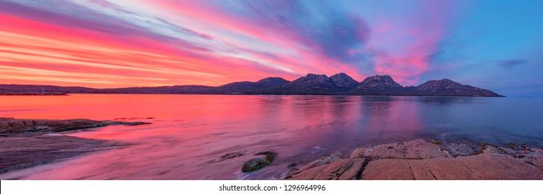 Beautiful sunrise over the Hazards,Freycinet  National Park Tasmania