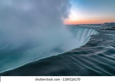 Beautiful sunrise over Horseshoe Falls at Niagara Falls, Ontario.