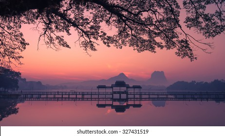 Beautiful sunrise over Kan Thar Yar lake in Hpa An Myanmar (Burma). Landmarks and tourist travel destinations in Asia