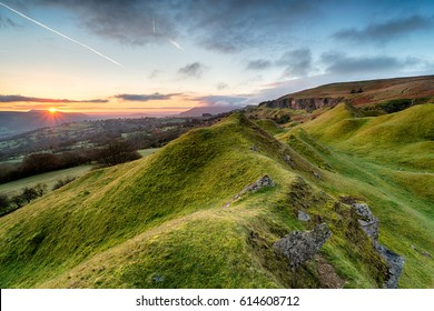 Beautiful sunrise over the Llangattock Escarpment in the Brecon Beacons national park in Wales
