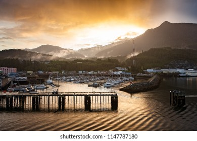Beautiful Sunrise over the Marina in the Small Harbor at the Port of Skagway in Alaska, USA