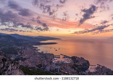 Beautiful sunrise over Monaco on French Riviera