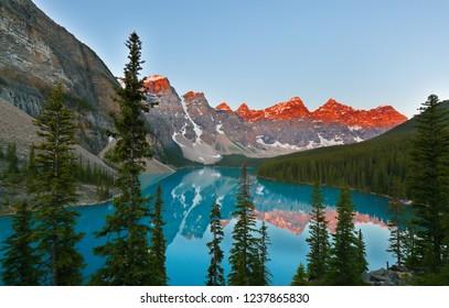 Beautiful sunrise over Moraine Lake, Banff National Park, Alberta, Canada