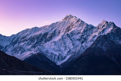 beautiful Sunrise over the Mount Tilitso Himal at Mustang, Nepal.