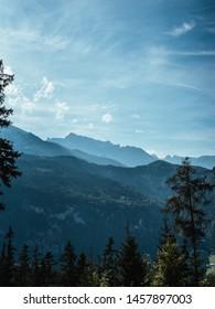 Beautiful sunrise over the mountain range at the Bavarian Alps