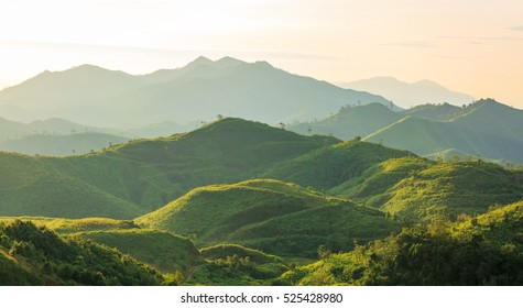 Beautiful sunrise over the mountain range at the west of thailand