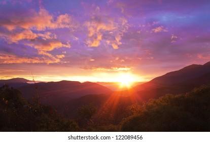 Beautiful sunrise over the mountains