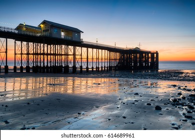 Beautiful sunrise over Penarth Pier near Cardiff on the south coast of Wales