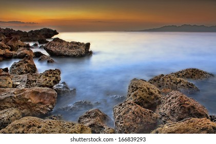 Beautiful sunrise over the persian gulf, Dibba, Oman