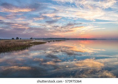 Beautiful Sunrise Over River with Reflections