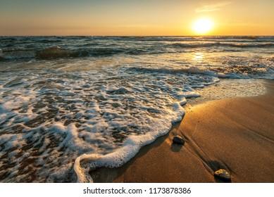 Beautiful sunrise over the sea at summer.