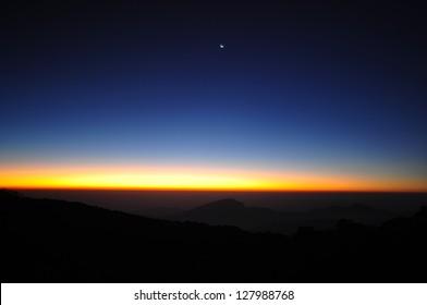 Beautiful Sunrise over a Silhouetted Horizon