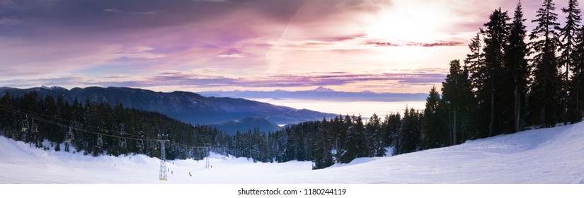 A beautiful sunrise over a ski hill early in the morning near Vancouver British Columbia