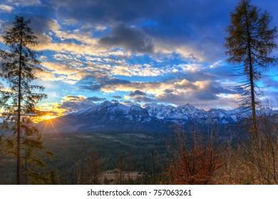 Beautiful sunrise over Tatra mountains in winter, Poland