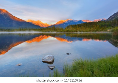Beautiful sunrise over Vermillion Lake , Banff National Park, Alberta, Canada. Vermilion Lakes are a series of lakes located immediately west of Banff, Alberta