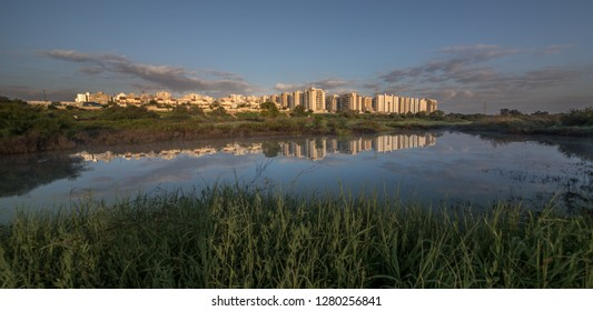 Beautiful sunrise over the water. Israel Ashkelon January 2019. Landscape.