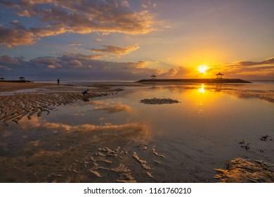 Beautiful sunrise at Pantai Karang, Sanur, Bali, Indonesia