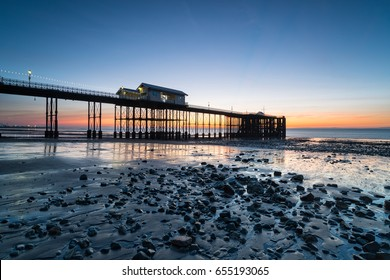 Beautiful sunrise at Penarth Pier on the outskirts of Cardiff in Wales