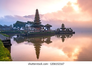 A beautiful sunrise at pura ulun danu bratan temple on Bratan lake, Bali, indonesia.