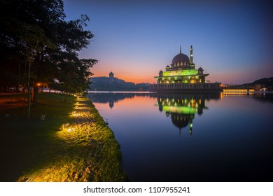 Beautiful Sunrise at Putra Mosque, Putrajaya with perfect reflection