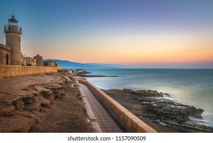 Beautiful sunrise in Roquetas de Mar in Almería