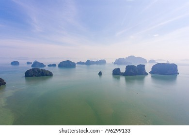 Beautiful sunrise at Samet nangshe viewpoint, Phang nga bay, Thailand
