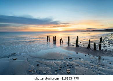 Beautiful sunrise at Sandsend Beach near Whitby on the Yorkshire heritage coastline