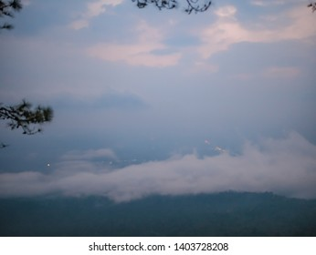 Beautiful sunrise with  sea of mist in the early morning on Phu Kradueng mountain national park in Loei City Thailand.Phu Kradueng mountain national park the famous Travel destination