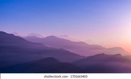 A beautiful sunrise seen from Sarangkot, Pokhara