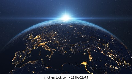 Beautiful sunrise seen from space