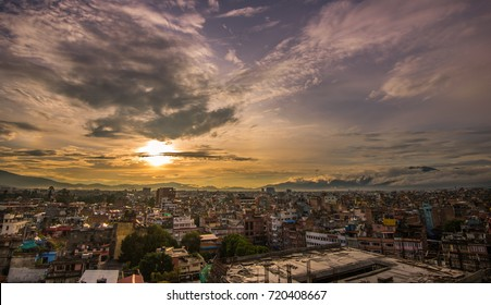 A  beautiful sunrise shot from the hotel rooftop in Thamel District overlooking Kathmandu, Nepal cityscapes