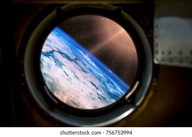Beautiful sunrise from space. View from spacecraft. Elements of this image furnished by NASA.