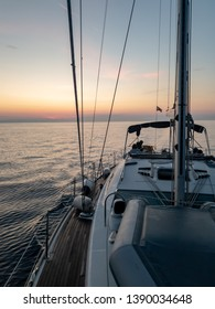 Beautiful sunrise taken from a sailing yacht on the Adriatic Sea in Croatia