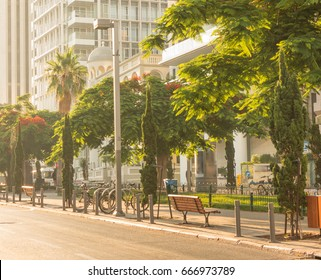 Beautiful sunrise in Tel-Aviv with empty streets
