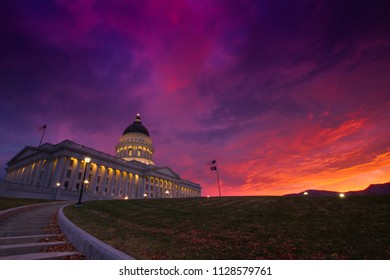 Beautiful sunrise at Utah State Capitol Building in Salt Lake City, Utah, USA.