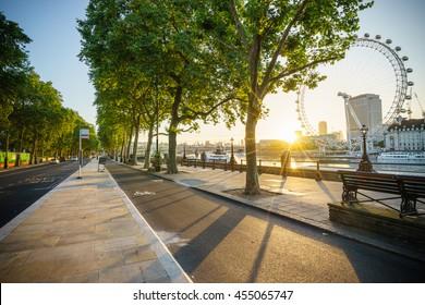Beautiful sunrise at Victoria Embankment street in London, UK