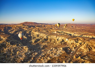 Beautiful sunrise view from balloon at Cappadocia, Turkey.