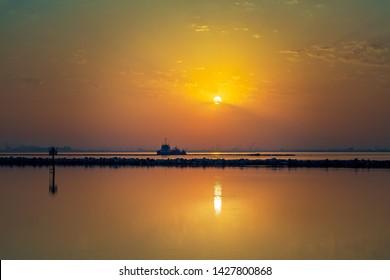 Beautiful sunrise view in Dammam Corniche Saudi Arabia