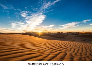 Beautiful sunrise view of the Erg Chebbi dunes, Sahara Desert, Merzouga, Morocco in Africa